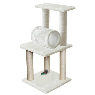 OxGord White 33-inch Cat Tree Tower Condo Scratching Furniture