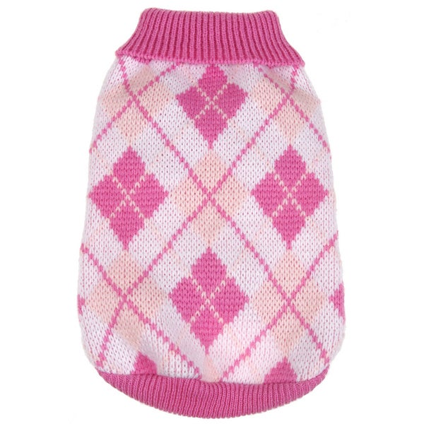 Pink Argyle Ribbed Fashion Pet Sweater