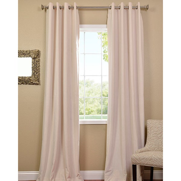Ivory Grommet Velvet Blackout 96 x 50-inch Curtain Panel (As Is Item)