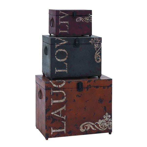 Iron storage trunk set stacking boxes decorative live love - Decorative trunks and boxes ...