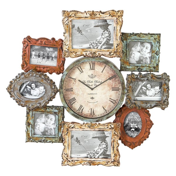 Metal Clock Photo Frame