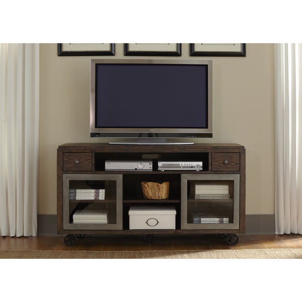 Rustic Brown Contemporary TV Console