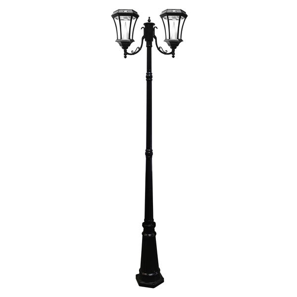 Gama Sonic GS-94D Black Post Victorian 2-light Solar Lamp with 9 Bright-white LEDs