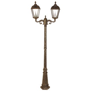 Gama Sonic GS-98D Weathered Bronze Post Royal 2-light Solar Lamp with 7 Bright-white LEDs