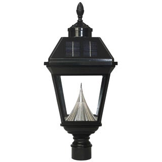 Gama Sonic GS-97F-GE Post Mount Black Imperial Solar Light with 8 Bright-white LEDs