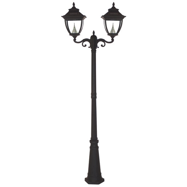 Gama Sonic GS-104D Black Post Pagoda 2-light Solar Lamp with 8 Bright-white LEDs