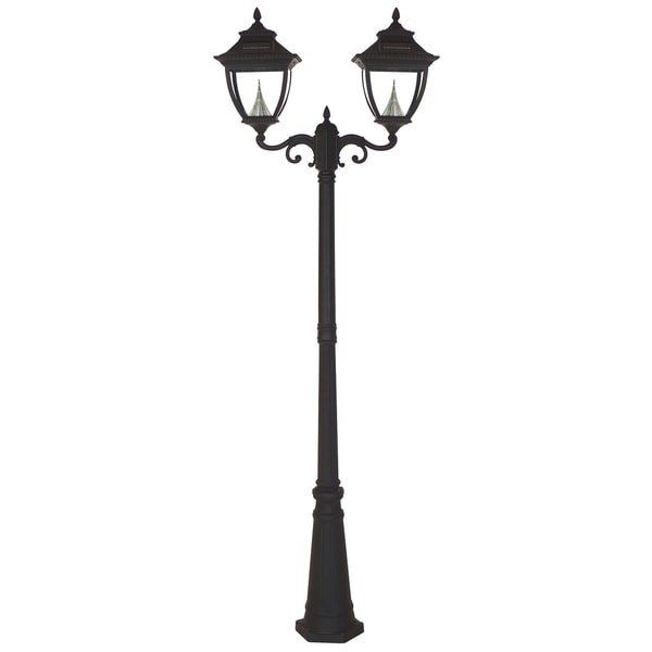 gama sonic gs 104d black post pagoda 2 light solar lamp. Black Bedroom Furniture Sets. Home Design Ideas