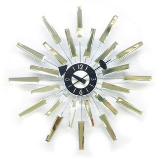 HGTV 19-inch Mid-century Modern George Nelson-era Beveled Eyelash Mirror Clock