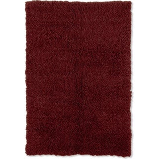 Oh! Home Flokati Super Heavy Burgundy Area Rug (7' x 10')