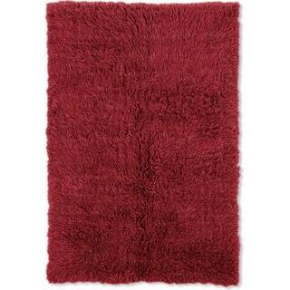 Linon Flokati Super Heavy Red Area Rug (7' x 10')