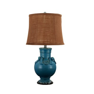 Ceramic Turquoise Lamp with Cocoa Brown Burlap Shade