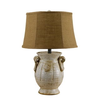 Cocoa Burlap Drum Shade Ivory Lamp
