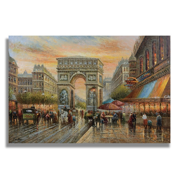Trenton 'Paris Street Scene with the gate of Triumphal ' Gallery-wrapped Canvas
