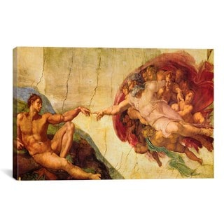 iCanvas Creation of Adam by Michelangelo di Lodovico Buonarroti Simoni Canvas Print Wall Art