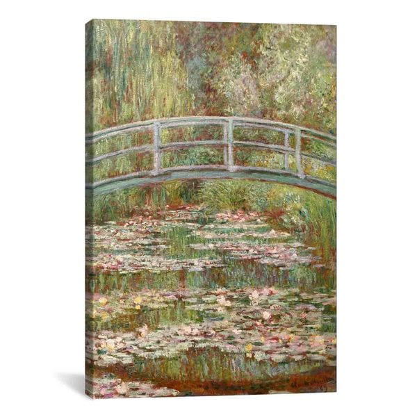 Bridge over a Pond of Water Lilies by Claude Monet Canvas Print Wall Art