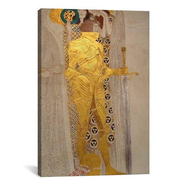 Knight Detail from the Beethoven Frieze by Gustav Klimt Canvas Print Wall Art