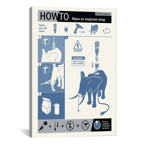 iCanvasART How To Build An Elephant Lamp Canvas Print Wall Art