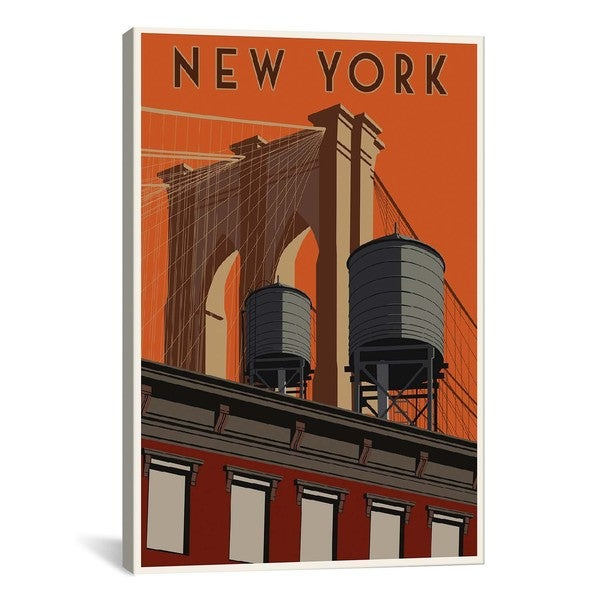 iCanvasART New York Travel Poster Canvas Print Wall Art