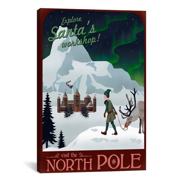 iCanvasART North Pole Christmas Canvas Print Wall Art