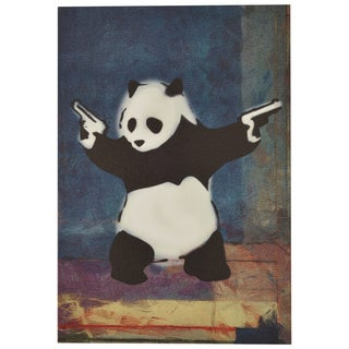 iCanvasART Banksy Panda with Guns Blue Square Canvas Print Wall Art