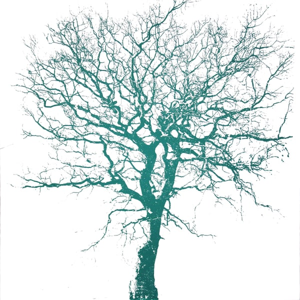 Art in Style Teal Green Tree on White Hand Painted on Canvas Wall Art