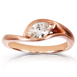 Annello 10k Rose Gold 1/2ct TDW Certified Marquise Diamond Ring (G, VS)