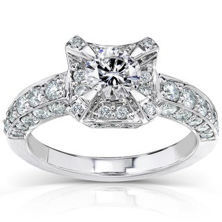 Annello 14k White Gold 1 1/3ct TDW Round-cut Diamond Halo Engagement Ring (H-I, I1-I2)