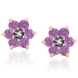 Dolce Giavonna Gold-over-Sterling Silver Diamond Accent Gemstone Flower Stud Earrings in a Red Bow Gift Box