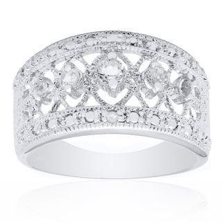Dolce Giavonna Sterling Silver White Topaz and Diamond Accent Ring