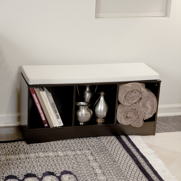 Storage Bench with Three Bins and Canvas Cushion