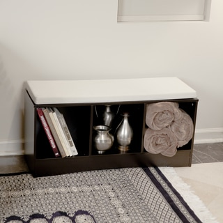 Storage Bench with Three Shelves and Canvas Cushion