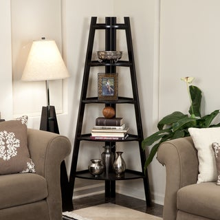 Five Tier Espresso Corner Ladder Display Bookshelf