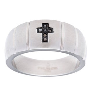 Stainless Steel Men's Black Diamond Accent Cross Ring