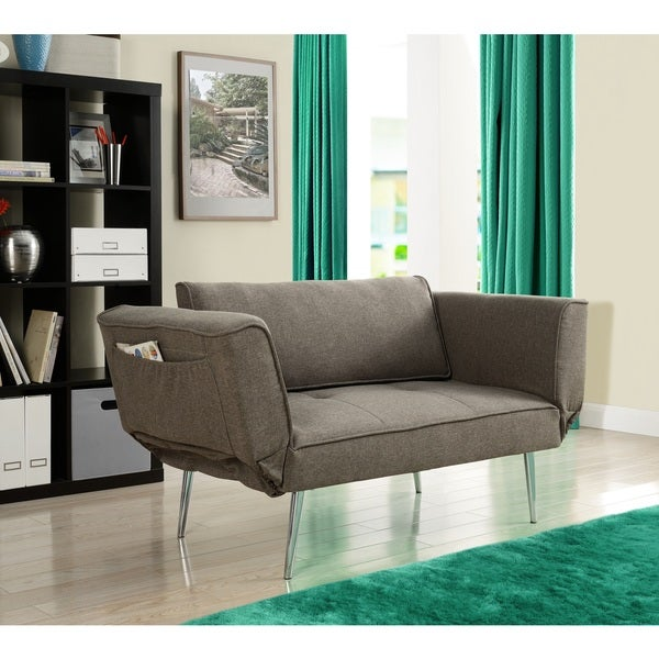 Dhp euro futon sofa bed with magazine storage overstock for Couch 600 euro