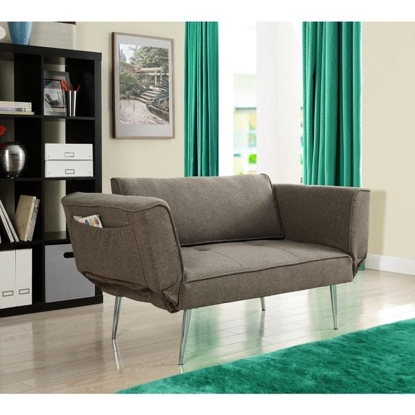 Dhp euro futon sofa bed with magazine storage overstock for Sofa 99 euro