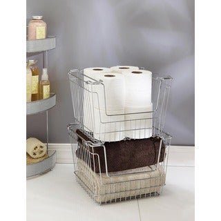 Large Chrome Stackable Storage Basket