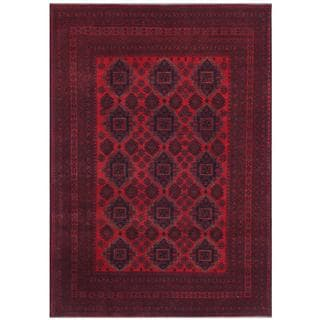 Herat Oriental Afghan Hand-knotted Tribal Khal Mohammadi Red/ Navy Wool Rug (8'3 x 11'8)