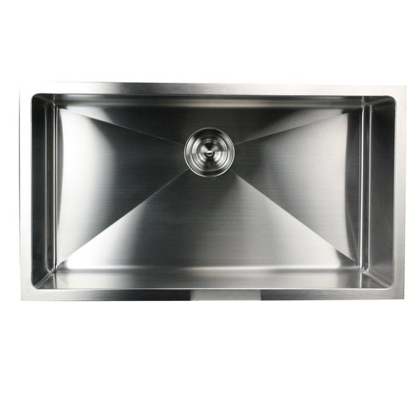 32 inch small radius undermount 16 gauge stainless steel kitchen sink with drain 16305738. Black Bedroom Furniture Sets. Home Design Ideas