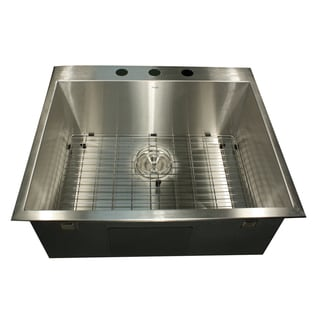 25 Inch 16-Gauge Topmount Stainless Steel Kitchen Sink with Grid and Drain