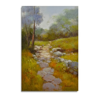 Reagan 'Beautiful mountain side path with pretty fall colors' Gallery-wrapped Canvas