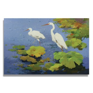 Peters 'Two beautiful white egrets playing in the water lily pond' Gallery-wrapped Canvas
