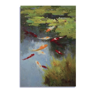 McKline 'Koi Fish in Pond with a nice summer day' Gallery-wrapped Canvas
