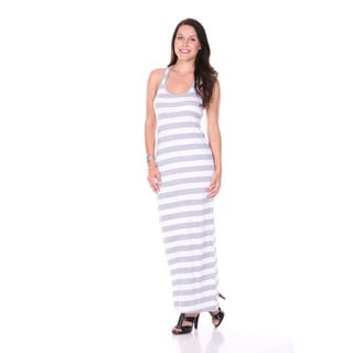 Stanzino Women's White Grey Striped Maxi Dress