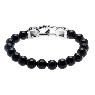 Stainless Steel and Black Agate Bracelet