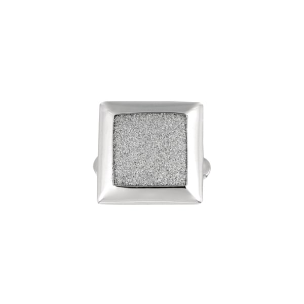 Silver Rhodium-plated Brass Glitter Square Ring