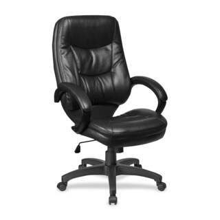 Lorell Westlake Black Leather High-back Executive Chair