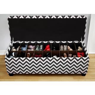 The Sole Secret Shoe Storage Bench - Zig Zag Black and White