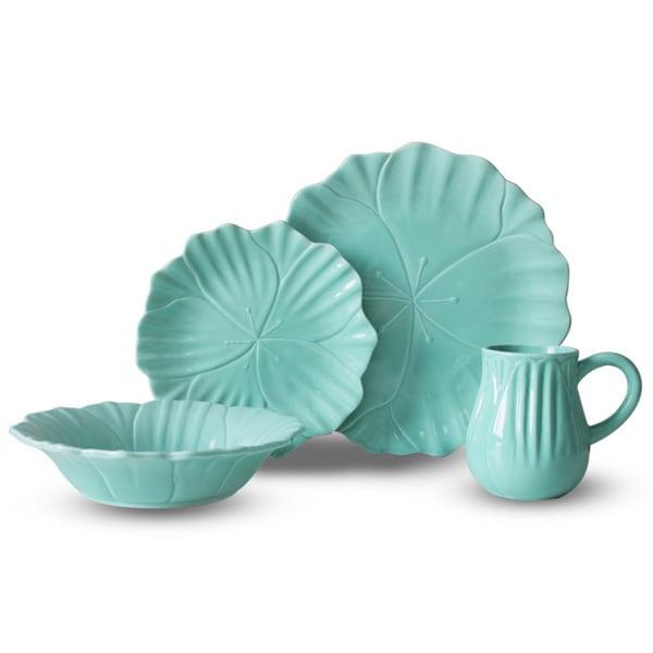 Tulip Teal 16-piece Dinnerware Set