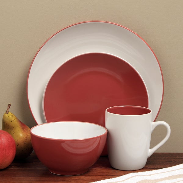 Sofia Red/ White 16-piece Dinnerware Set