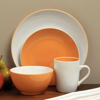 Sofia Orange/ White 16-piece Dinnerware Set